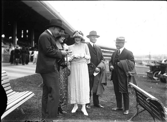 A day at the races: (right to left) Captain Edward Robert Sterling, his son Ray Milton Sterling and Australian daughter-in-law Ethel May Sterling, with unidentified friends, c 1918.