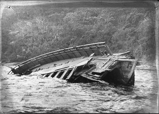 Partially submerged wreck of the Greycliffe