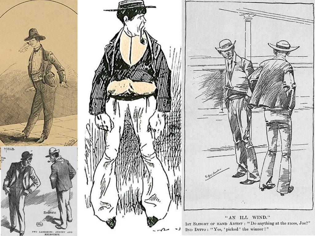 Various depictions of 'larrikin' characters