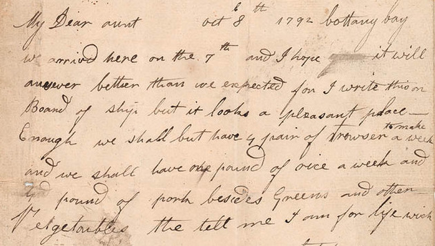 Mary Reibey letter to her aunt