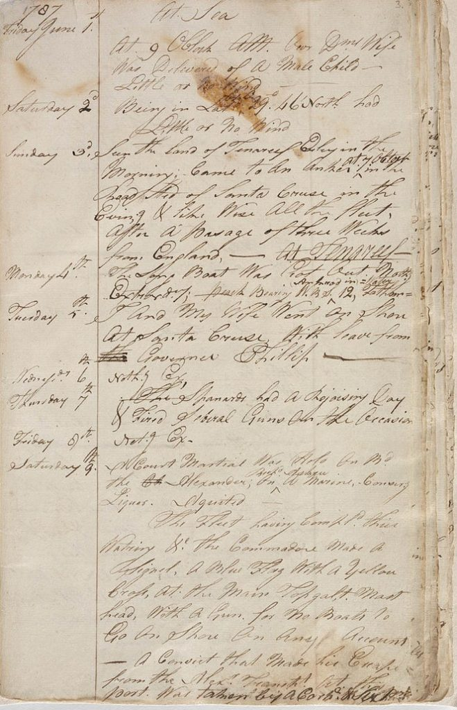 Page from James Scott's journal