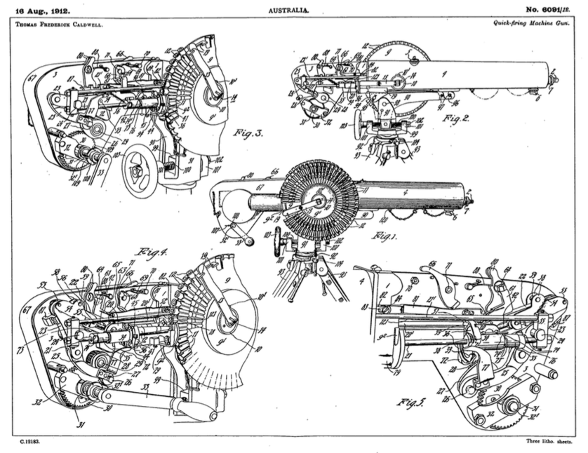 Caldwell machine gun patent drawings