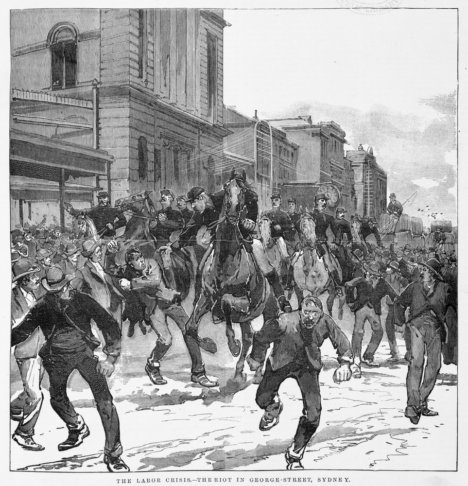 The Labor crisis — the riot in George Street 19 September 1890, State Library of Victoria
