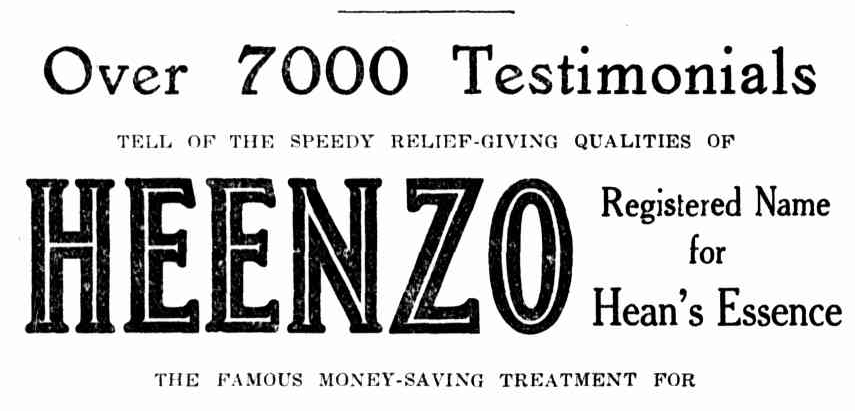 Heenzo trade mark, no. 20657, registered 5 October 1916, IP Australia.