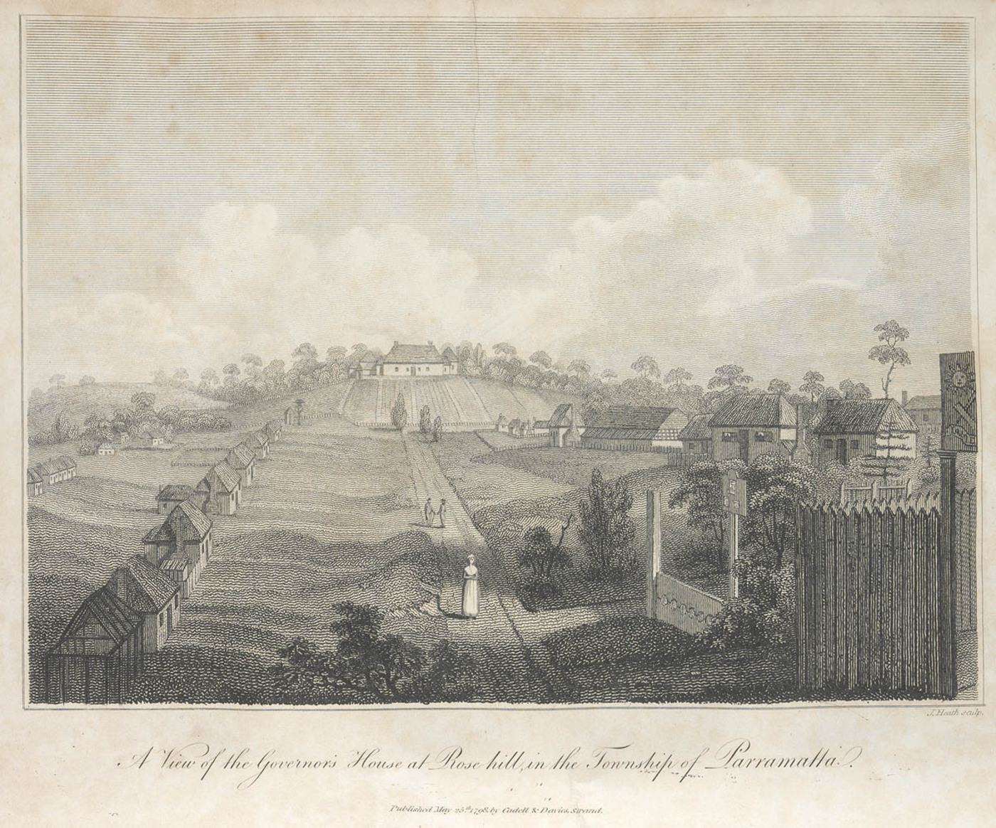 Punishment stocks are visible to the right in this view of the Governor's house at Rose Hill in Parramatta c1798, State Library of NSW