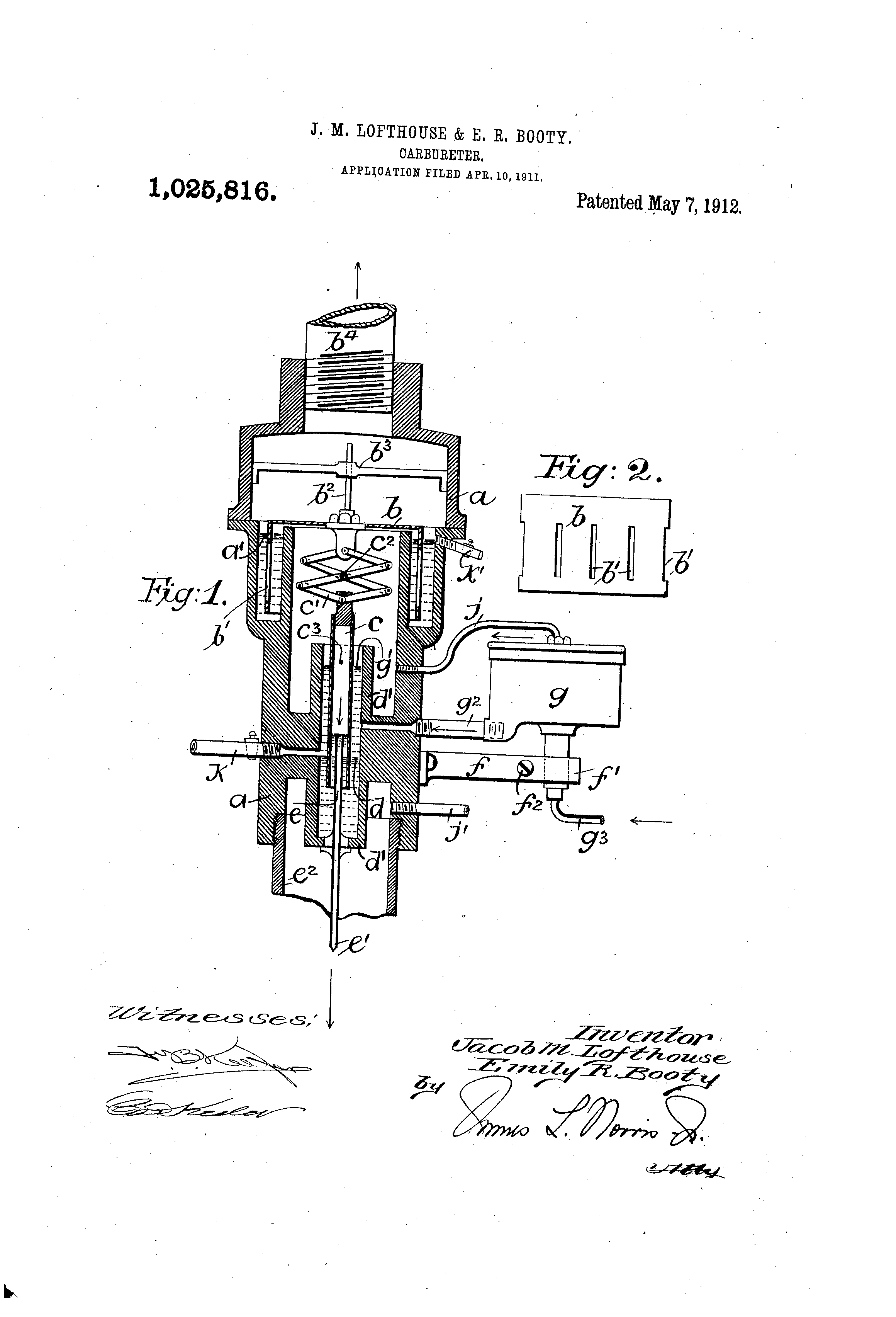The Booty-Lofthouse apparatus US Patent, Google Patents