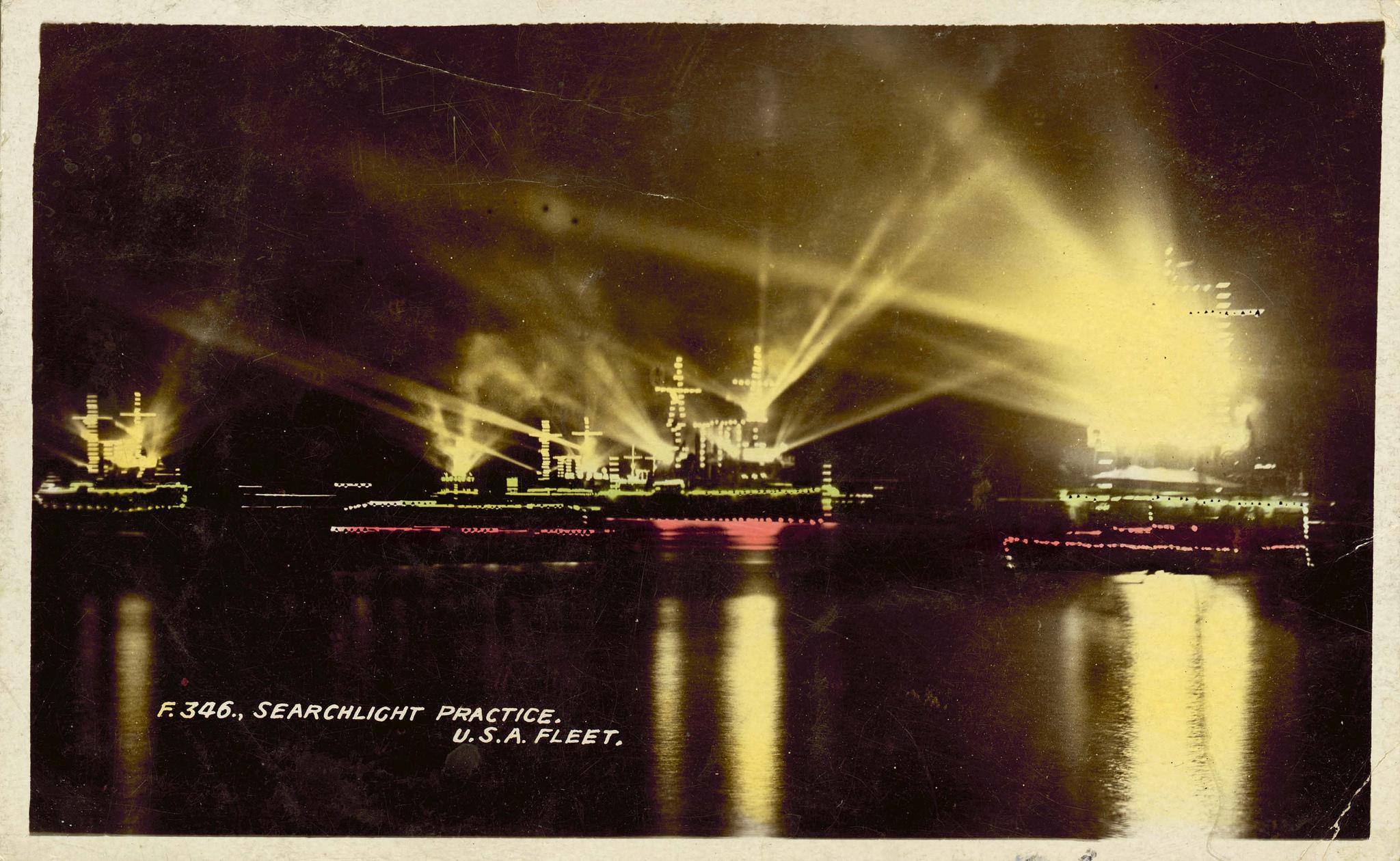 Searchlight practice, US Navy Fleet, 1908, Australian National Maritime Museum