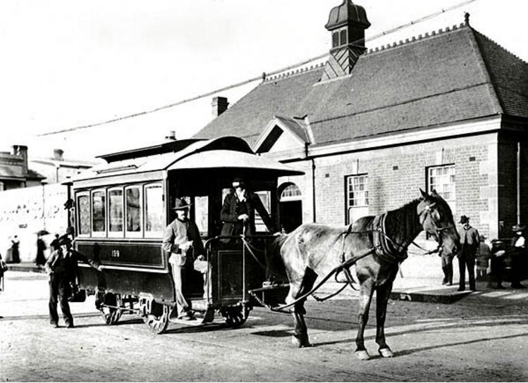 Horse-drawn tram at Newtown Station 1894_SRNSW