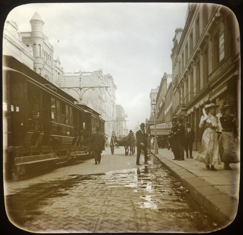 Pedestrians and tram on George Street c 1910