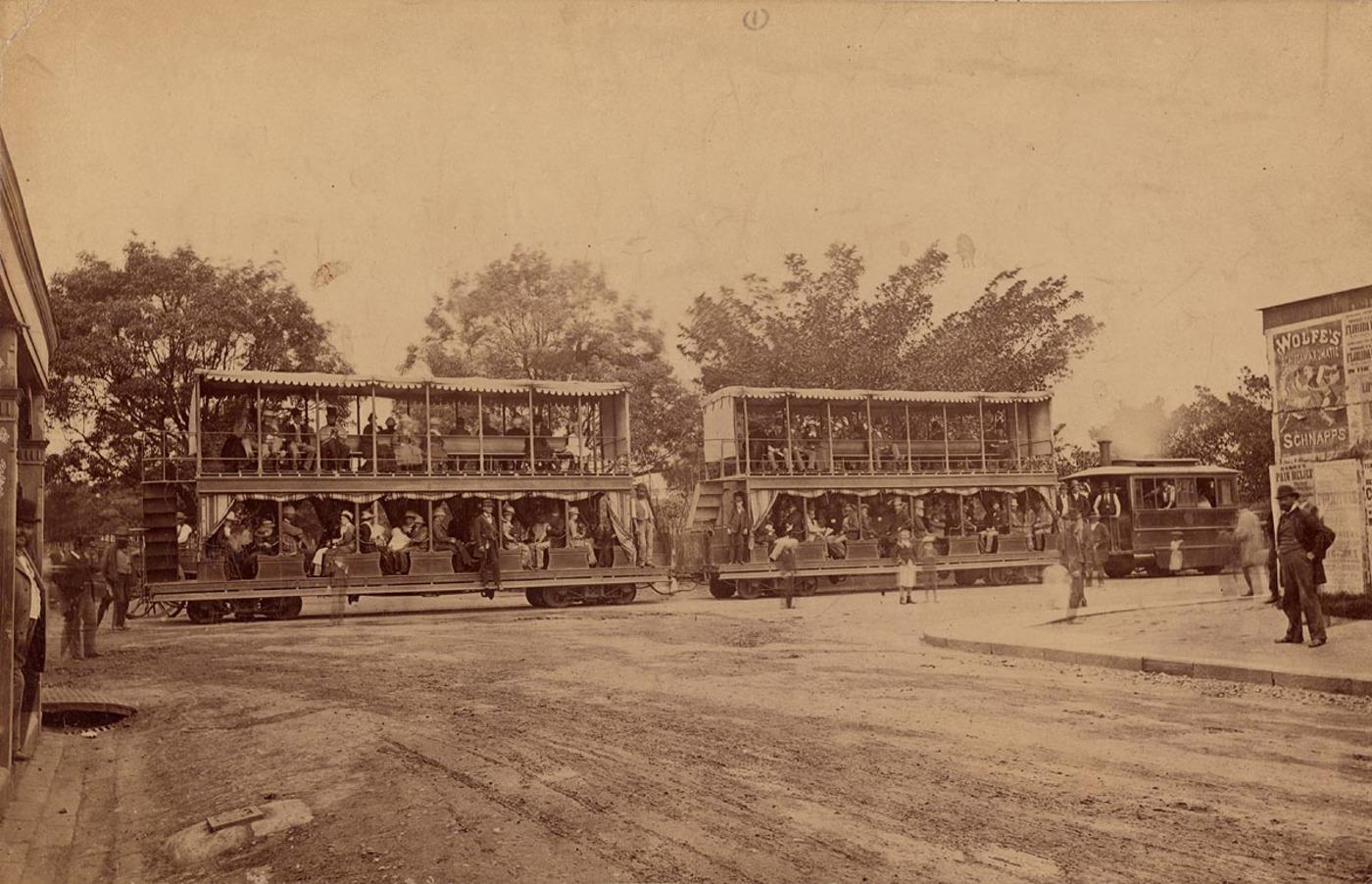 Steam tram, Market Street 1879