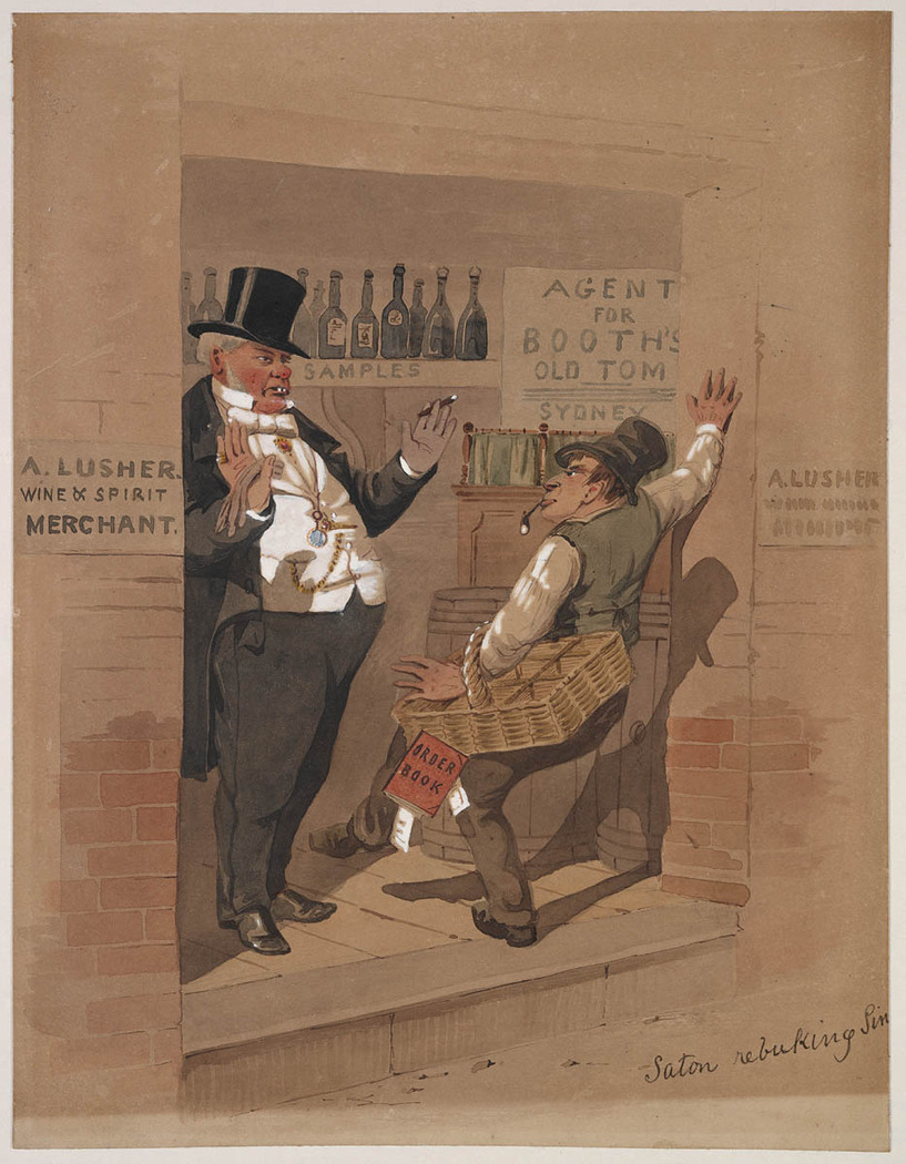 Moralistic cartoon implies alcohol consumption is a problem confined to the lower orders of society, 1862-63, State Library of NSW