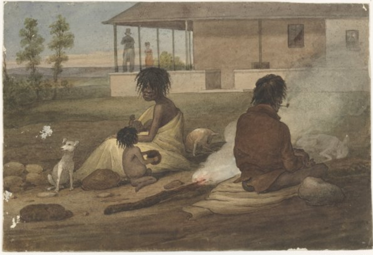 Aboriginal family probably in front of the house of Dr Charles Throsby, at Casula, Augustus Earle, National Library of Australia
